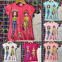 Детская футболка ДЕВОЧКИ С СОБАЧКОЙ для девочек 6-9 лет,цвет уточняйте при заказе, фото 1