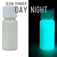 Люминофор бесцветный\бирюзовое свечение. Уп. 10 г. Светящийся в темноте пигмент.
