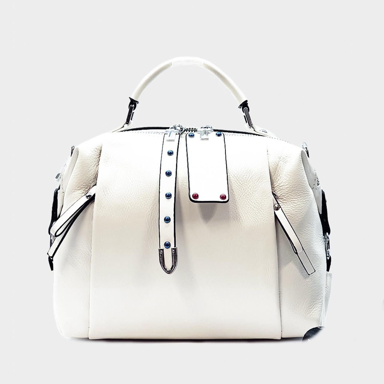 Стильная сумка белая средняя повседневная кожаная 8802