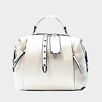 Стильная сумка белая средняя повседневная кожаная 8802, фото 1