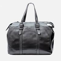 Модная женская кожаная сумка черная большая 6658