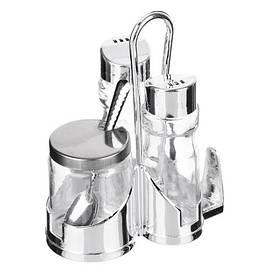Емкости для сыпучих 60-16 (с подставкой, стекло, хромированная сталь), арт. 6-3