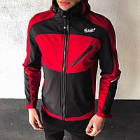 Мужская куртка Round Pobedov (бордово-черная)