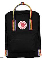 Рюкзак  Fjallraven Black   Kanken Bag Mini 8 литров  Топ качество  черный  с радужными   ручками