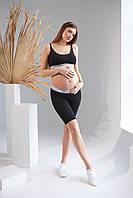 Велосипедки з контрастною резинкою для вагітних 2161 1397 чорні