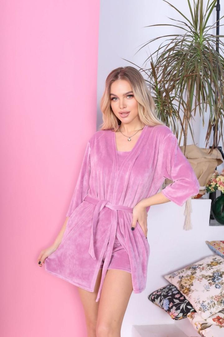 Женская пижама - тройка, велюр, р-р 42-44; 46-48; 50-52; 54-56 (розовый)
