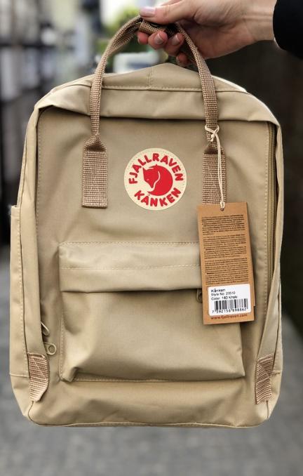 Рюкзак  Fjallraven Biege Kanken Bag Mini 8 литров  Топ качество бежевый с бежевой ручкой