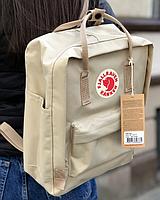 Рюкзак  Fjallraven Biege Kanken Bag Mini 8 литров  Топ качество бежевый с бежевой ручкой, фото 2
