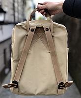 Рюкзак  Fjallraven Biege Kanken Bag Mini 8 литров  Топ качество бежевый с бежевой ручкой, фото 3
