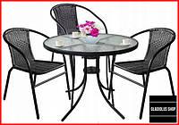 Набор садовой мебели Jumi Bistro (черный) Стол и 3 стула Для сада Летняя мебель для кафе Летней площадки