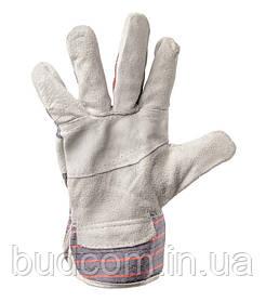 """Рукавички комбіновані з замші та тканини, сшивная долоню, 10,5"""" MASTERTOOL 83-0701"""