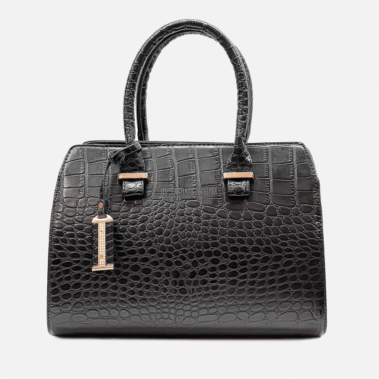 Стильная сумка черного цвета саквояж средняя 640-2