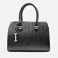 Стильная сумка черного цвета саквояж средняя повседневная 640-2