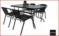 Набор садовой мебели Kontrast Bistro (черный) Стол и 4 стула Для сада Летняя мебель для кафе Летней площадки