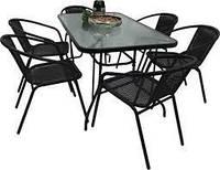 Набор садовой мебели Kontrast Bistro (черный) Стол и 6 стульев Для сада Летняя мебель для кафе Летней площадки