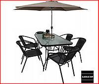 Набор садовой мебели Kontrast Boston (черный-беж) Стол 6 стульев и Зонт Для сада Для кафе Летней площадки