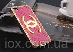 Розовый чехол с камнями Сваровски для iPhone 4/4s