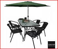 Набор садовой мебели Kontrast Boston (черный-зеленый) Стол 6 стульев и Зонт Для сада Для кафе Летней площадки