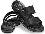 Шльопанці жіночі сандалі Крокси оригінал / Crocs women's Capri Dual-Strap Sandal (206089), Чорні, фото 2