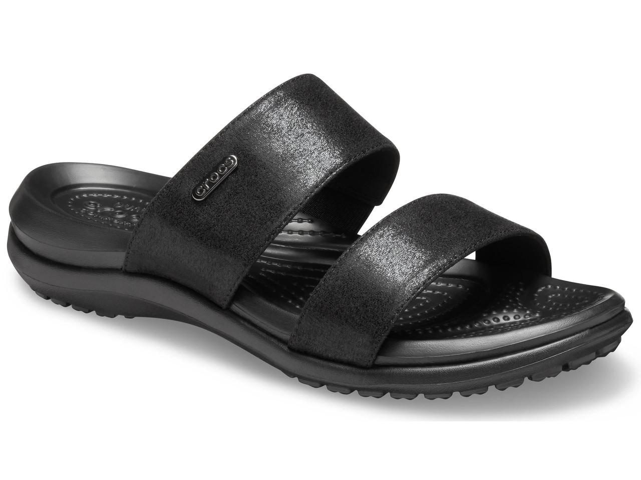 Шльопанці жіночі сандалі Крокси оригінал / Crocs women's Capri Dual-Strap Sandal (206089), Чорні