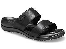 Шлепанцы женские сандалии Кроксы оригинал / Crocs Women's Capri Dual-Strap Sandal (206089), Черные