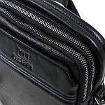 Сумка планшет мужская кожаная через плечо BRETTON черная 18*21*8 (06-149), фото 2