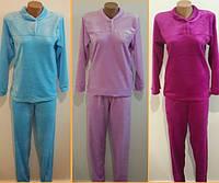 Женская махровая пижама однотонная
