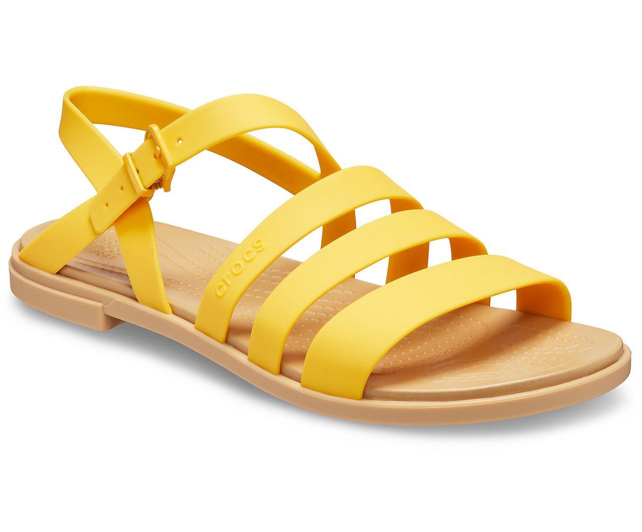 Босоніжки жіночі сандалі Крокси оригінал / Crocs women's Tulum Sandal (206107), Жовті