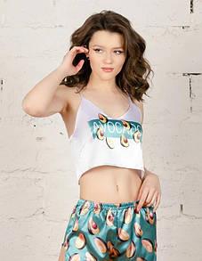 Женская пижама авокадо шелковая піжама жіноча комплект маєчка шорти