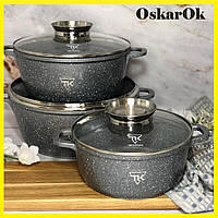 Набор кастрюль с гранитным покрытием Top Kitchen TK00021, Набор кухонной посуды, кастрюли с крышками
