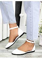 Модные белые туфли босоножки 2021 из кожи на низком ходу, размер от 36 до 40