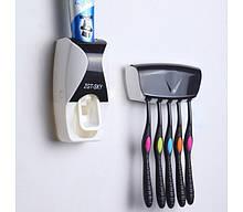 Тримач з дозатором для зубних щіток SKY Чорний