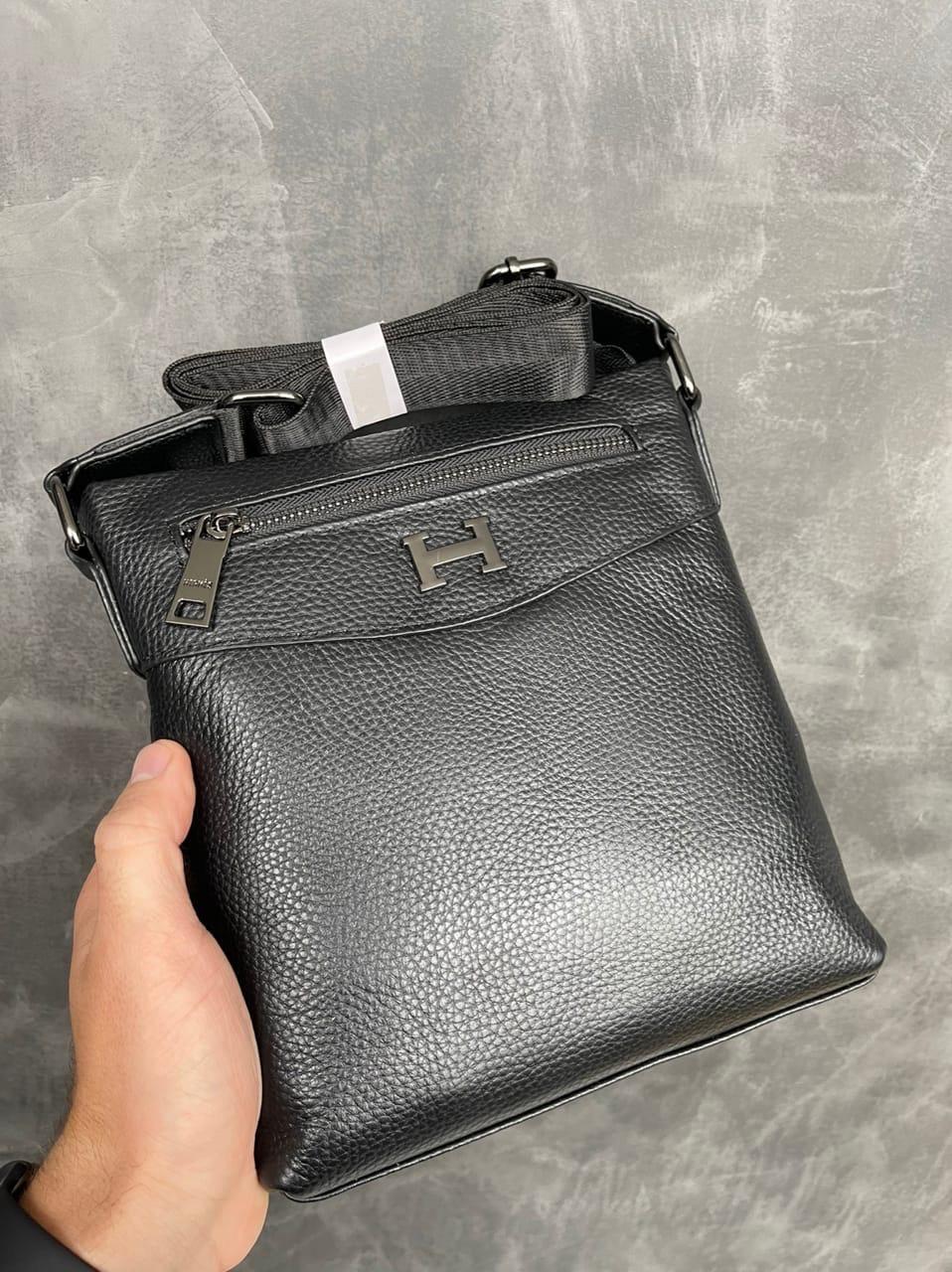Чоловіча Чорна Сумка Месенджер Hermès