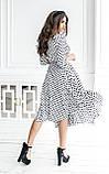 Длинные женские летние платья на запах белые в горох тренд 2021, фото 2
