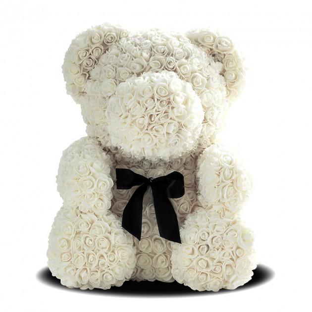Мишко з троянд Білий з стрічкою UTM 25 см