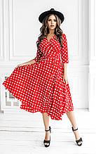 Длинные женские летние платья на запах красные в горох тренд 2021