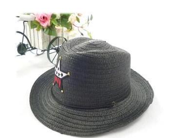 Детская пляжная соломенная шляпа Summer star black