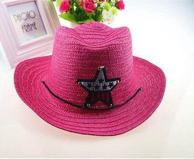 Детская пляжная соломенная шляпа Summer star pink