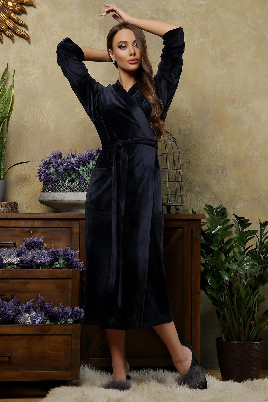 Женский велюровый  халат Мирелла