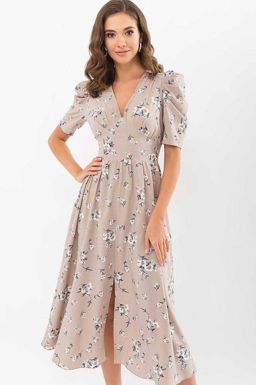 Платье  из софта на запах в цветочный принт бежевое  Фариза к/р