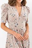 Платье  из софта на запах в цветочный принт бежевое  Фариза к/р, фото 4