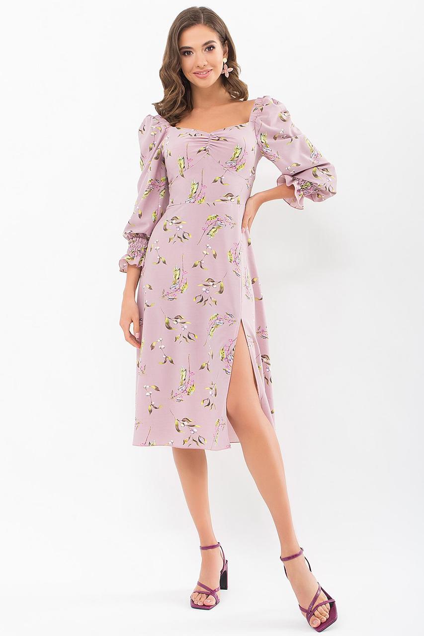 Платье из софта с открытыми плечами в цветочный принт  Пала д/р