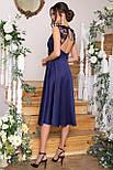 Плаття нарядне з відрізний спідницею і мереживом синє Пайпер б/р, фото 3