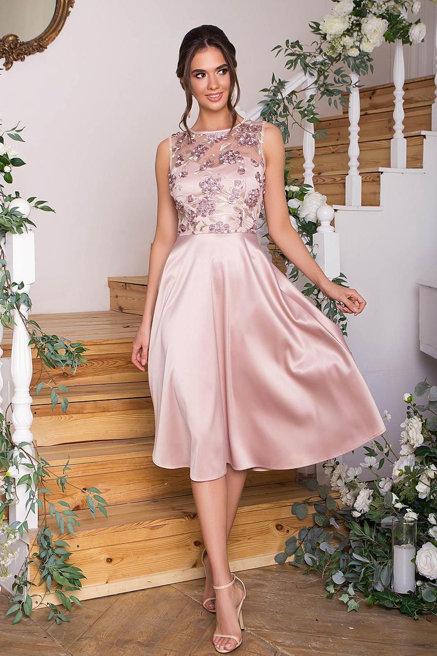 Плаття нарядне з відрізний спідницею і мереживом рожеве Пайпер б/р