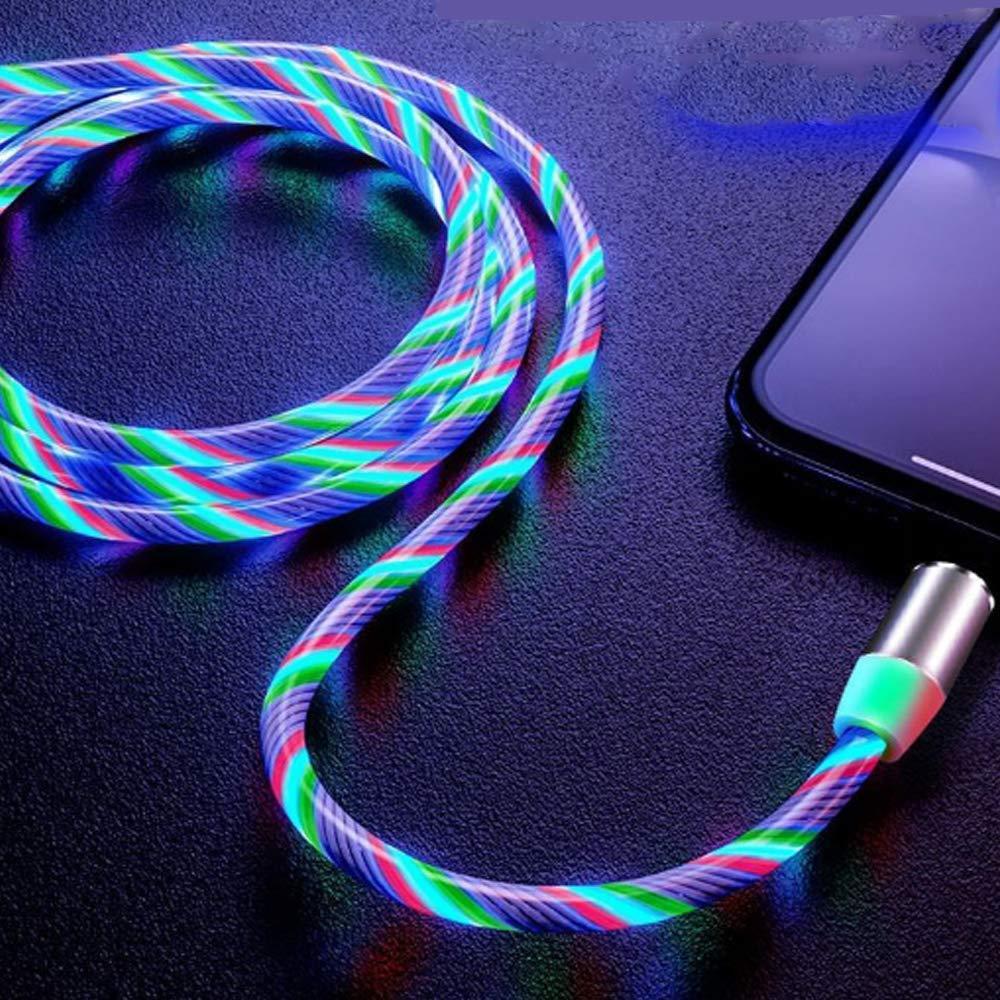 Магнитный светящийся кабель синхронизации Luminous для IOS Android Type-C 1 3 в 1 Радужный