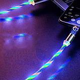 Магнитный светящийся кабель синхронизации Luminous для IOS Android Type-C 1 3 в 1 Радужный, фото 2