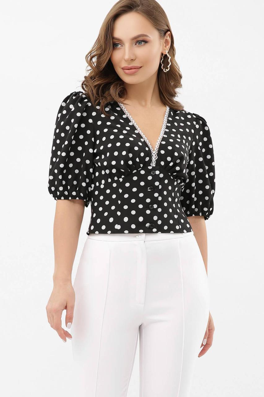 Блуза в горох черно белая  Инара к/р
