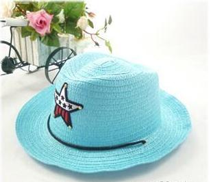 Детская пляжная соломенная шляпа Summer star blue