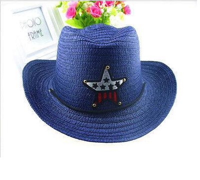 Детская пляжная соломенная шляпа Summer star dark blue