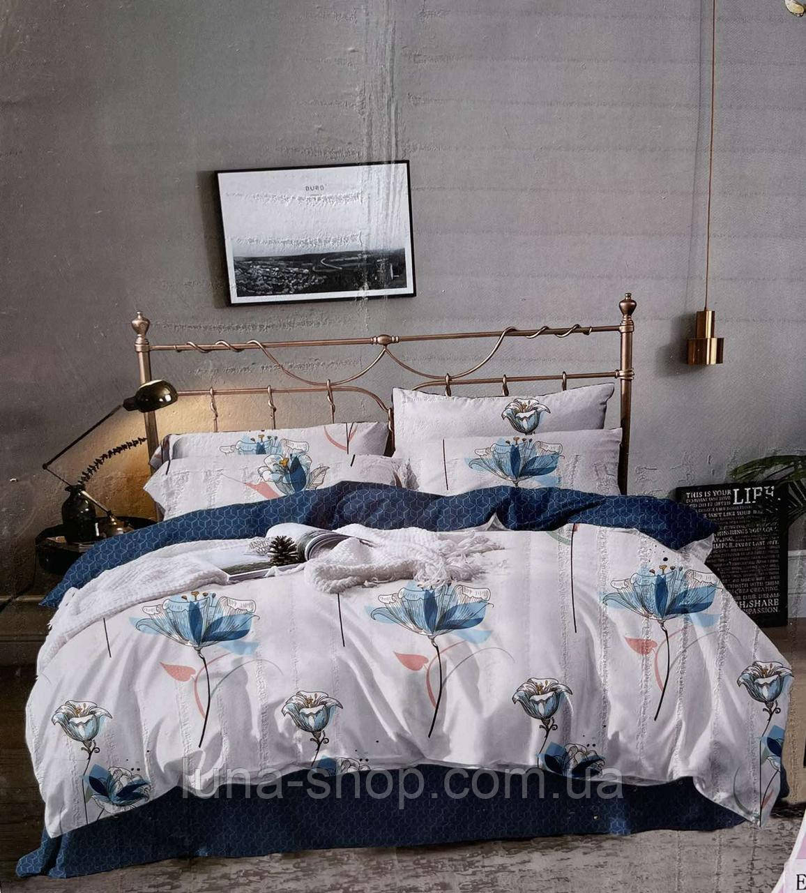 Фланелевый (байковый) постельный еврокомплект  Голубой цветок, Польша, хлопок 100%